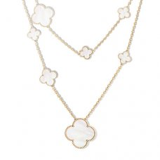 alhambra or jaune faux van cleef & arpels white mother-of-pearl long collier