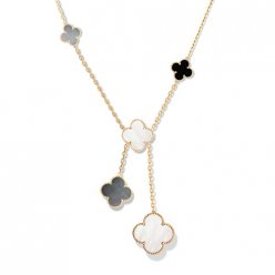 alhambra or jaune replique van cleef & arpels white and gray mother-of-pearl collier