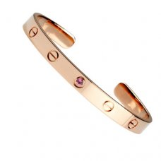 cartier copy cuff steel bracelet pink gold with one sapphire diamond