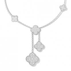 alhambra white gold fake van cleef & arpels round diamonds necklace