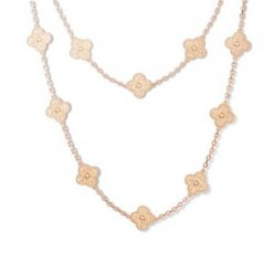alhambra or rose faux van cleef & arpels long collier
