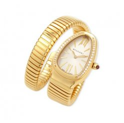 Bvlgari Serpenti Tubogas fake watch yellow gold Single helix with diamonds