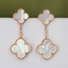 alhambra or rose faux van cleef & arpels white mother-of-pearl boucles d'oreilles