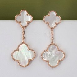 alhambra pink gold fake van cleef & arpels white mother-of-pearl earrings