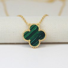 alhambra yellow gold copy van cleef & arpels malachite pendant