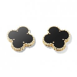 alhambra yellow gold fake van cleef & arpels onyx earrings