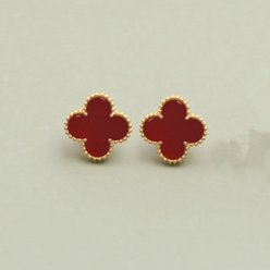 alhambra yellow gold copy van cleef & arpels carnelian earrings