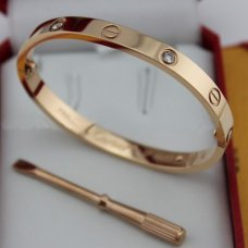cartier copy love bracelet pink gold steel with 4 Diamonds
