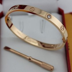 cartier copie love bracelet Or rose acier Avec 4 diamants