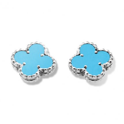 alhambra white gold replica van cleef & arpels turquoise earrings