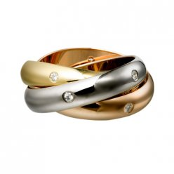 trinity de Cartier replica 3-gold ring mosaic diamond B4038800