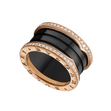 Bvlgari B.ZERO1 fake ring pink gold 4 band black cerami with pave diamonds