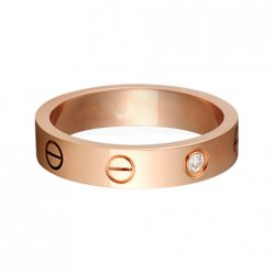 cartier copy love pink Gold ring mosaic one diamond narrow version