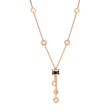 Bvlgari B.ZERO1 replica necklace pink gold black ceramic pendant