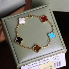 alhambra yellow gold fake van cleef & arpels carnelian onyx white mother-of-pearl bracelet