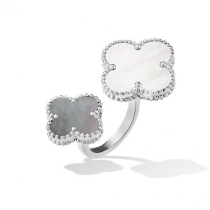 between the finger white gold fake van cleef & arpels white gold ring