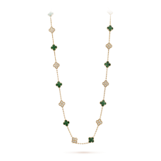 alhambra or jaune replique van cleef & arpels malachite round Diamants long collier