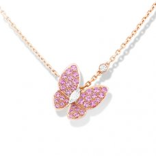 alhambra pink gold fake van cleef & arpels marquise-cut diamonds pendant