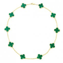 alhambra yellow gold fake van cleef & arpels malachite necklace