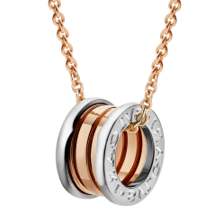 Bvlgari B.ZERO1 replica necklace pink gold white gold pendant