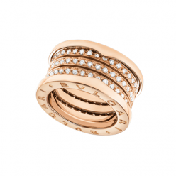 Bvlgari B.ZERO1 replica ring pink gold 4 band paved with diamonds