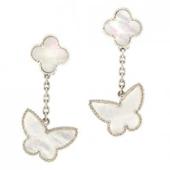 alhambra or blanc replique van cleef & arpels white mother-of-pearl boucles d'oreilles