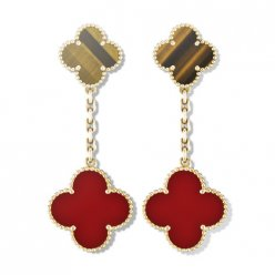 alhambra yellow gold fake van cleef & arpels tiger's eye carnelian earrings