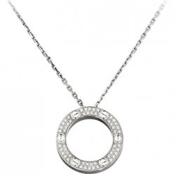 cartier replica love necklace white gold paved with diamonds pendant