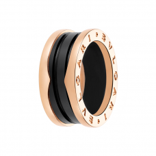 Bvlgari B.ZERO1 replica ring pink gold 3 band with black ceramic