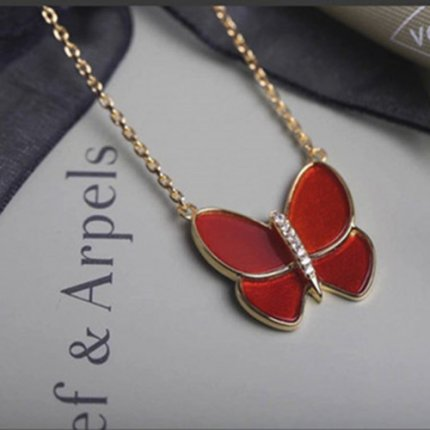 alhambra oro giallo imitazione van cleef & arpels red mother-of-pearl ciondolo
