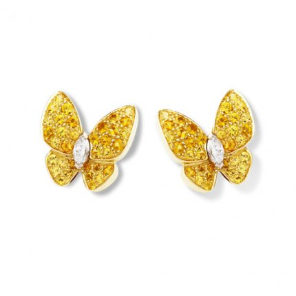 alhambra round yellow sapphires fake van cleef & arpels marquise-cut diamonds earrings