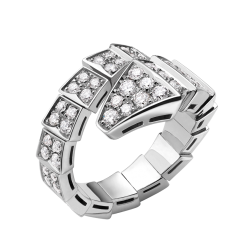 Bvlgari Serpenti replique bague or blanc bague Pavé de diamants