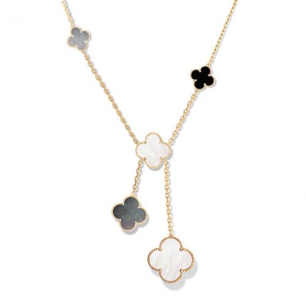 alhambra oro giallo replica van cleef & arpels white and gray mother-of-pearl collana