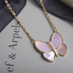 alhambra gelbgold replika van cleef & arpels pink mother-of-pearl anhänger