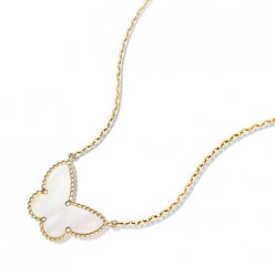 alhambra or jaune replique van cleef & arpels white mother-of-pearl pendentif