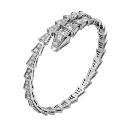 Bvlgari Serpenti replique Bracelet or blanc Hélice simple Couvert de diamants