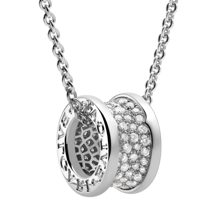 replica Bvlgari B.ZERO1 necklace white gold paved with diamonds pendant