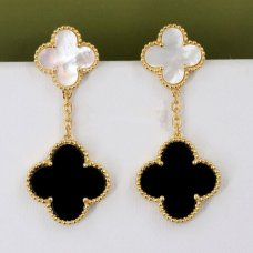 alhambra or jaune replique van cleef & arpels onyx white mother-of-pearl boucles d'oreilles