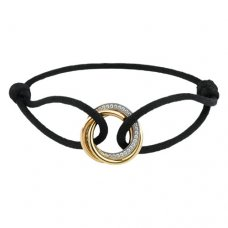 Trinity de replica cartier 18K gold diamond black cotton rope bracelet
