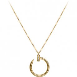 cartier replica juste un clou yellow gold necklace paved with diamonds nail pendant