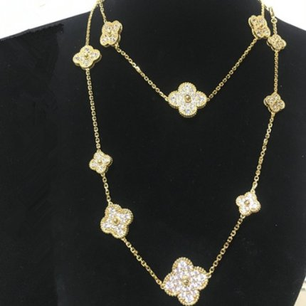 alhambra yellow gold replica van cleef & arpels round diamonds long necklace