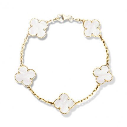 alhambra gelbgold replika van cleef & arpels white mother-of-pearl armband