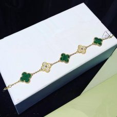 alhambra yellow gold fake van cleef & arpels malachite round diamonds bracelet