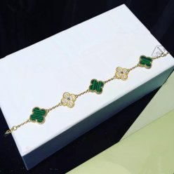 alhambra or jaune faux van cleef & arpels malachite round Diamants bracelet
