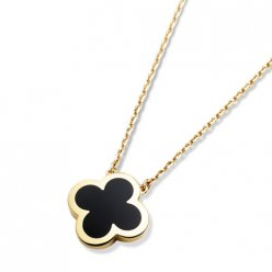 alhambra yellow gold fake van cleef & arpels onyx pendant