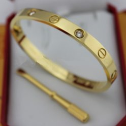 cartier replique love bracelet or jaune acier Avec 4 diamants
