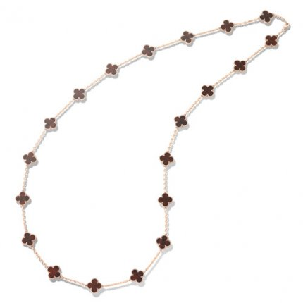 alhambra pink gold fake van cleef & arpels bois d'amourette long necklace