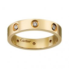 cartier Replik love gelbes Gold Ring Acht diamant Schmale Version