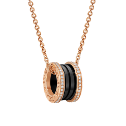 Bvlgari B.ZERO1 fake necklace pink gold black ceramic with pave diamonds pendant