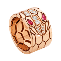 Bvlgari Serpenti faux bague Or rose Avec rubellite Pavé de diamants